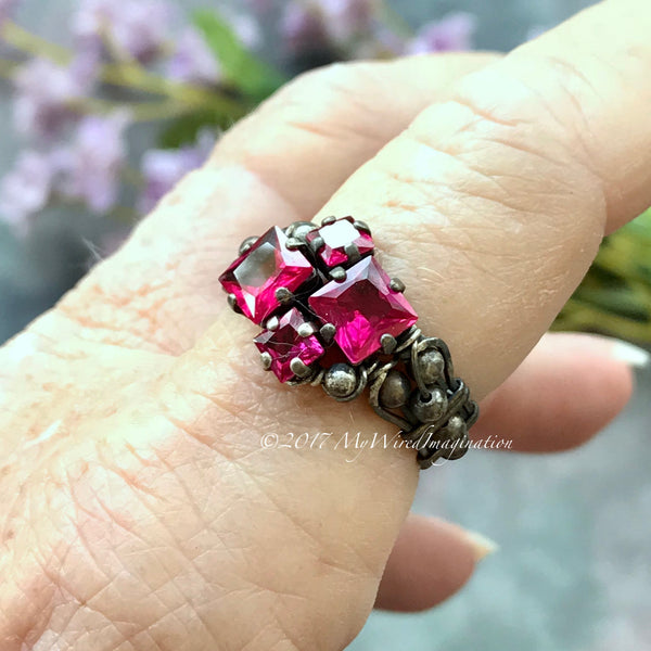 Ruby Squared, Sterling Silver, Multi-Stone Hand Crafted Ring, July Birthstone, Lab Created  Ruby