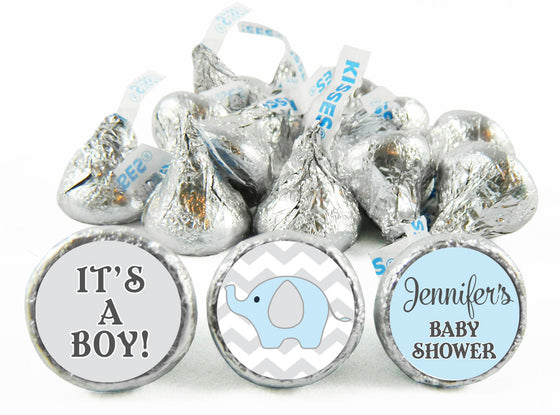 Boy Chevron Elephant Labels for Hershey's Kisses