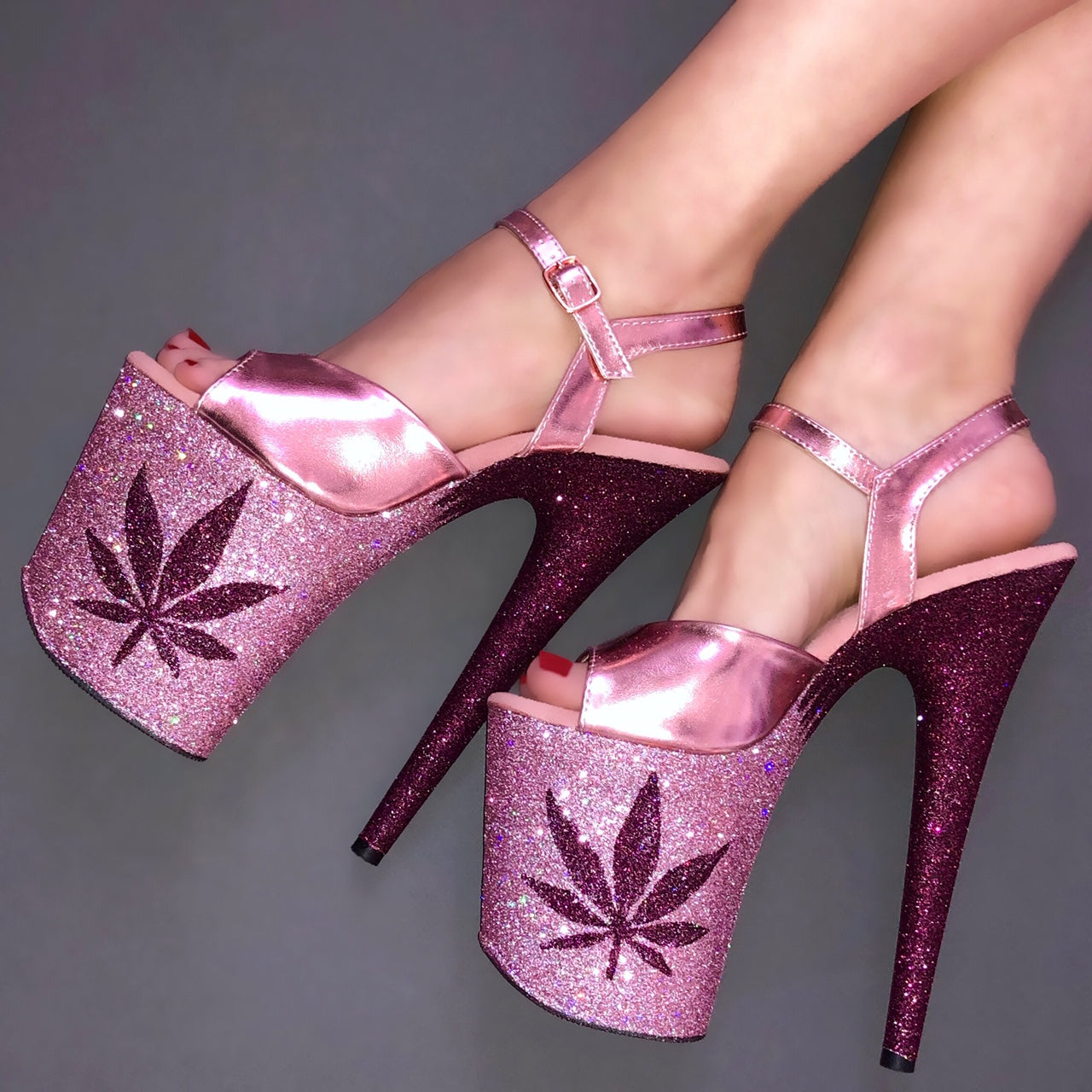 "8"" 420 Baby Pink - Pinot with Rose Gold Straps Glitter Heels"