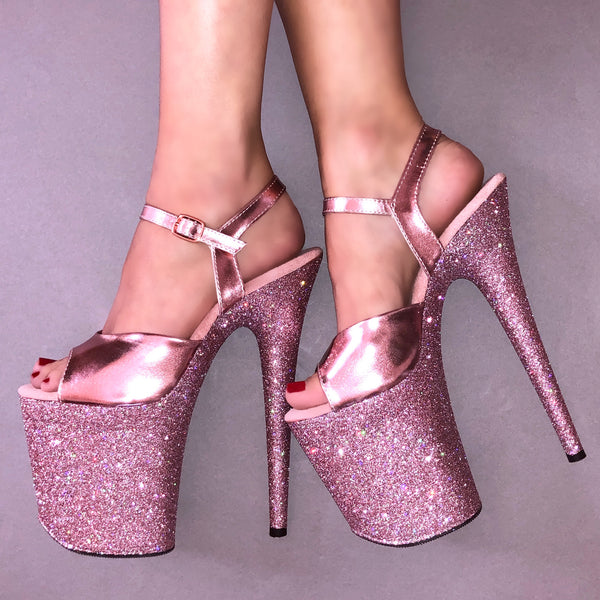 "8"" Baby Pink with Rose Gold Straps Glitter Heels"