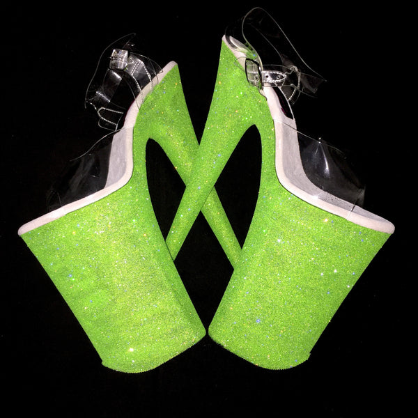 "10"" Neon Green GlitterHeels X Pleaser"