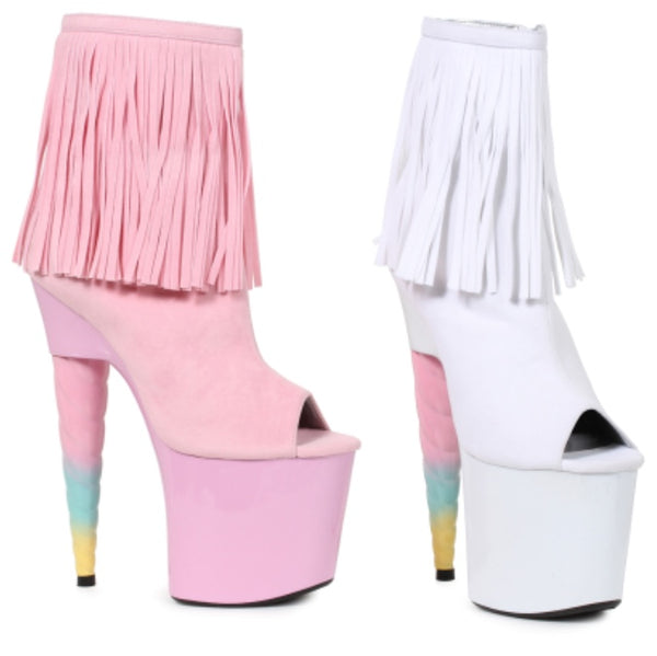 "7.5"" Twinkle Unicorn Soul Pink Fringe Bootie -VEGAN- Limited Edition"