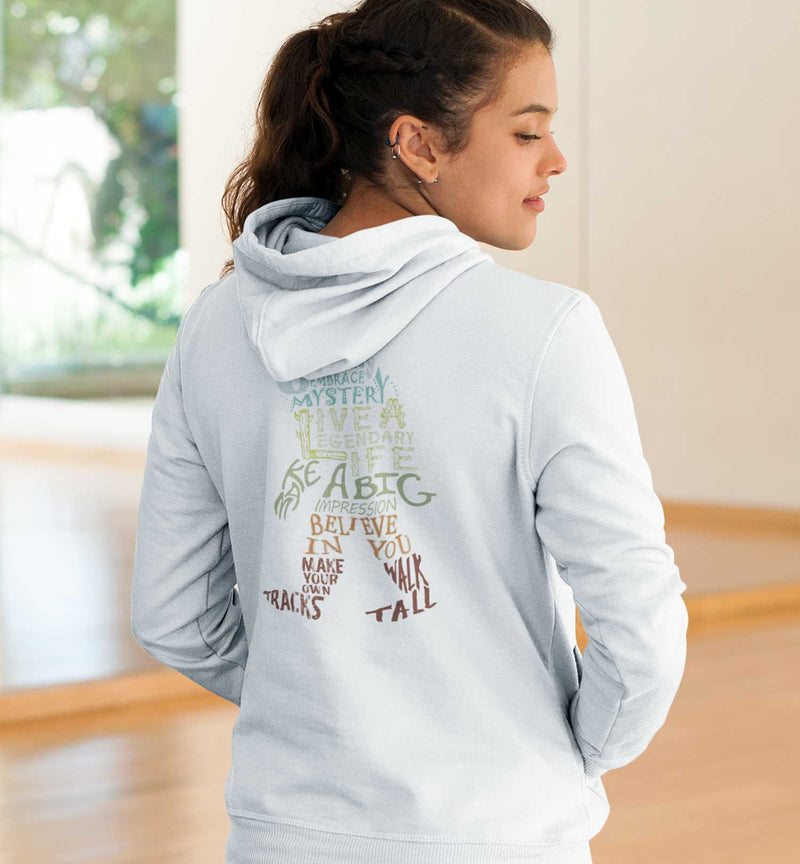 PNW Journey Sweatshirt - Hoodie - Bigfoot Wisdom - White - Back