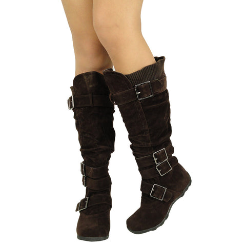 Womens Knee High Boots Ruched Leather Buckles Knitted Calf Brown