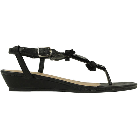 Womens Flat Sandals T-Strap Gemstones Low Wedge Adjustable Ankle Strap black