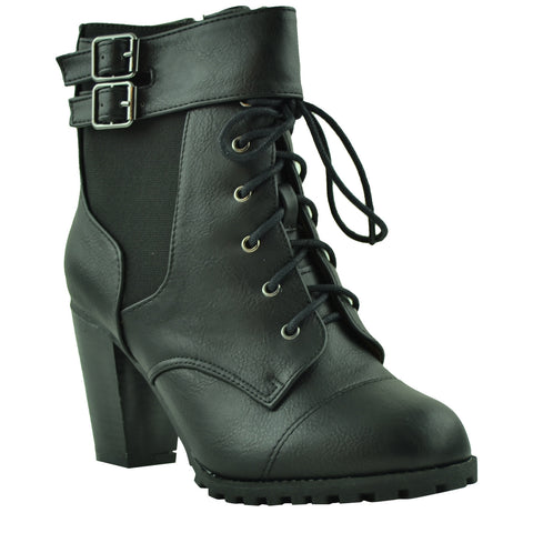 Womens Ankle Boots Lace Up Buckle Accent High Heel Booties black