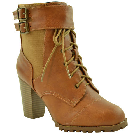 Womens Ankle Boots Lace Up Buckle Accent High Heel Booties Tan