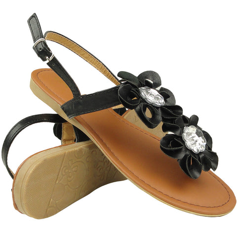 Womens Flat Sandals Thong Flower T-Strap Adjustable Ankle Strap black