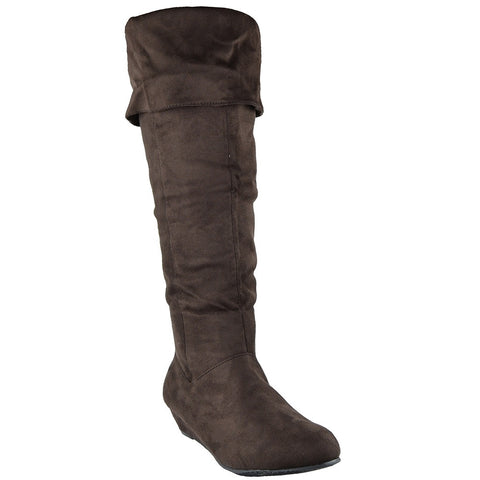 Womens Knee High Boots Fold Over Cuff Flat Comfort Shoes Brown
