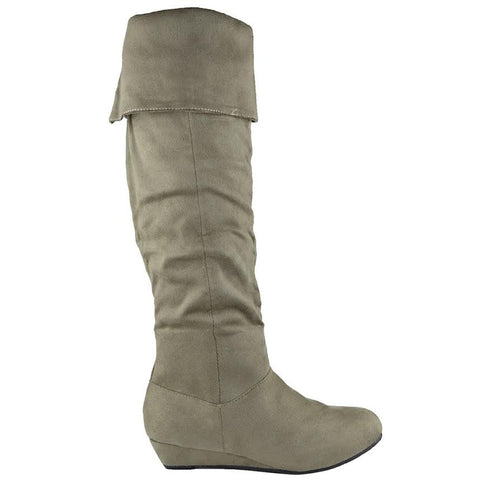 Womens Knee High Boots Fold Over Cuff Flat Comfort Shoes Taupe
