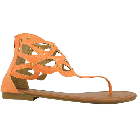 Womens Flat Sandals T-Strap Eyelet Cutout Back Zipper Closure Cognac