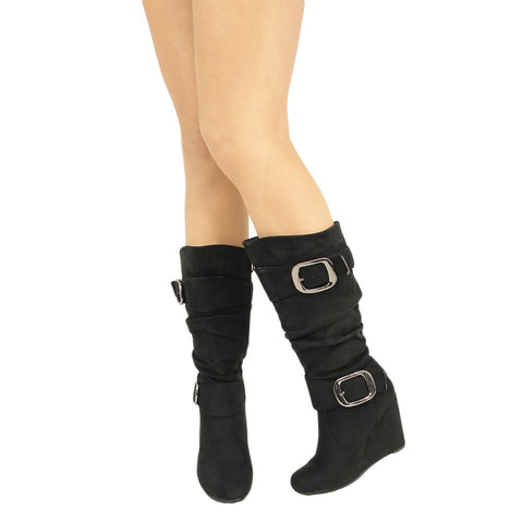 Womens Knee High Boots Faux Suede Wedge Double Side Buckle black