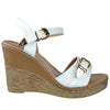Womens Platform Sandals Front Buckle Accent High Wedge Shoes White