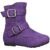 Kids Ankle Boots Suede Double Buckle Side Zipper Closure Purple