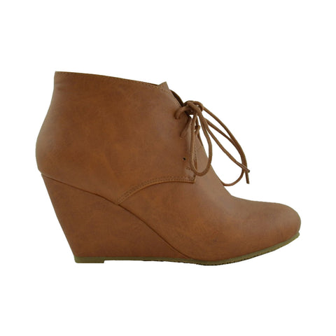 Womens Ankle Boots Leather Low Heel Lace Up Casual Wedges Tan