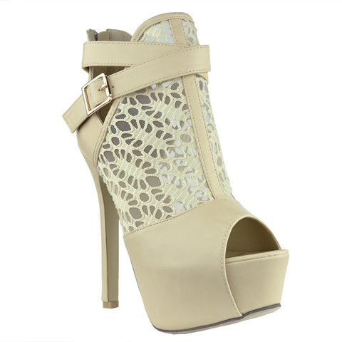 Womens Ankle Boots Peep toe Lace Mesh Cutout Platform Booties Nude