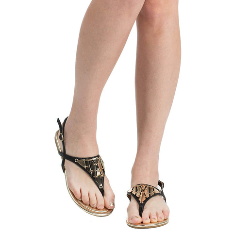 Womens Flat Sandals T-Strap Metal Accent Slingback Thong Sandal Black