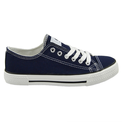 Womens Closed Toe Shoes Canvas Lace Up Casual Comfort Shoes Navy