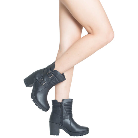 Womens Block Heel Ankle Boots Black