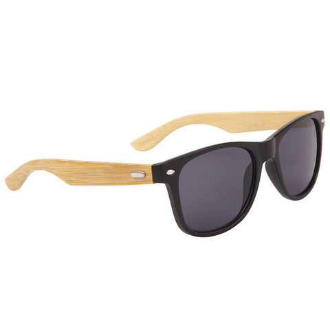 Unisex Classic Bamboo Wood Temples UV protection Wayfarer Sunglasses black