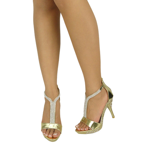 Womens Dress Sandals Embellished Wrap Around Strap High Heel Shoes Gold