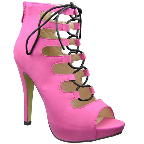 Womens Ankle Boots Contrast Lace Up Sexy High Heels Pink