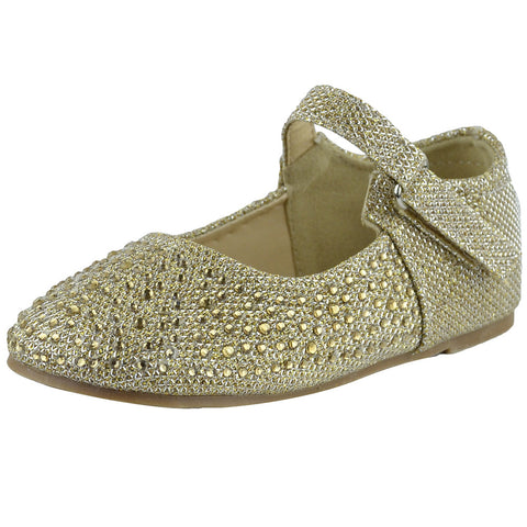 Toddlers Ballet Flats Rhinestone Tonal Accent Mary Jane Shoes Gold