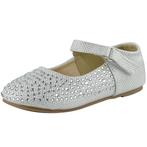 Toddlers Ballet Flats Rhinestone Tonal Accent Mary Jane Shoes White