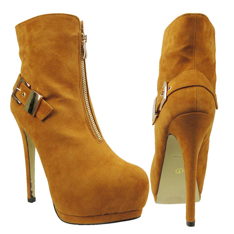 Womens Ankle Boots Sexy Double Platform Buckle High Heel Shoes Light Brown