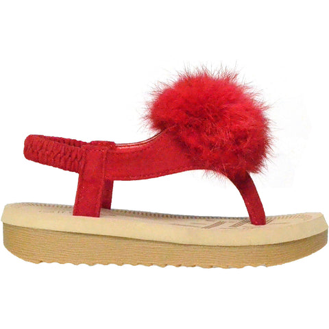 Kids Flat Sandals Slingback Open Toe Flip Flop Thong Wedges Red