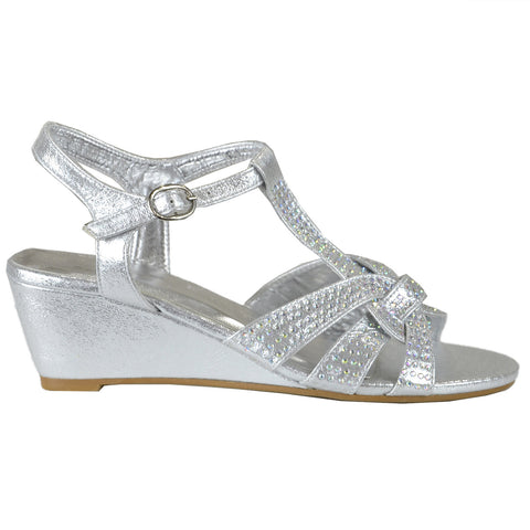 Womens Dress Sandals Braided Rhinestone Strappy Accented Wedges Silver