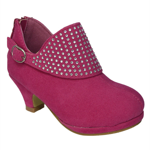 Kids Ankle Boots Buckle Accent Rhinestone High Heel Booties Pink