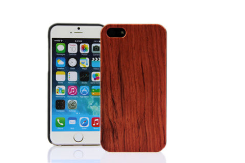 Wooden Case iPhone 6 Hard Cover Cell Phone Protector Rose Red Red