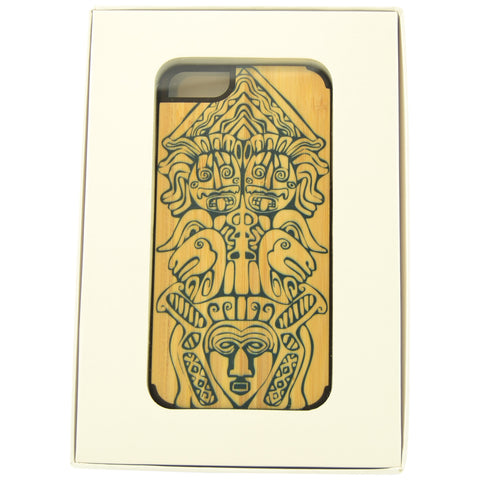 Wooden Case iPhone 6 Plus Aztec Tiki Tribal Head Protective Bu black
