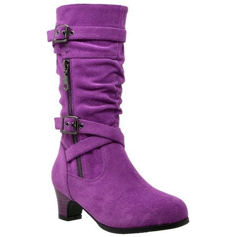Kids Knee High Boots Ruched Leather Strappy Buckle Zip Accent Low Heel Shoes Purple