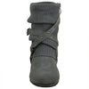 Womens Ankle Boots Slouch Knitted and Suede Cross Strap Buckles Gray