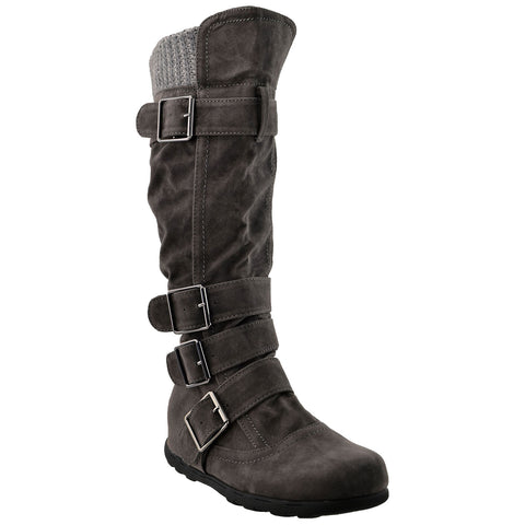 Womens Knee High Boots Ruched Suede Knitted Calf Buckles Rubber Sole  Charcoal