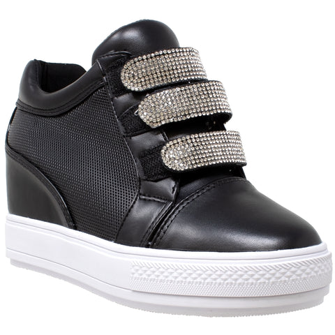 Womens Platform Shoes Rhinestone Accent Low Top Hidden Wedge Sneakers Black