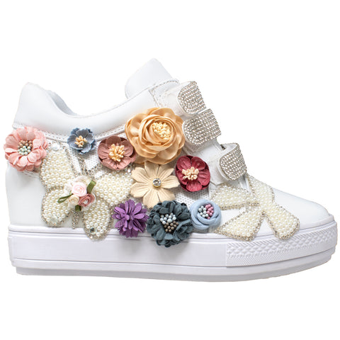 Womens Platform Shoes Rhinestone Pearl Flower Accent Hidden Wedge Sneakers White