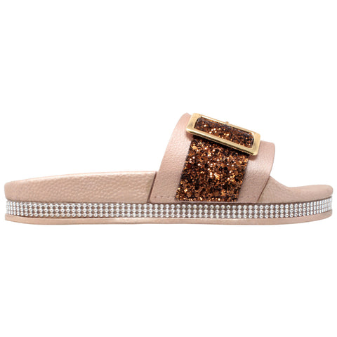 Womens Platform Sandals Glitter Buckle Rhinestone Slip On Flatform Slide Champagne