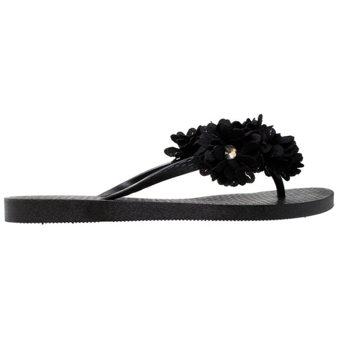 Womens Flat Sandals Rhinestone Floral Accent Slip On thong Flip Flop Black