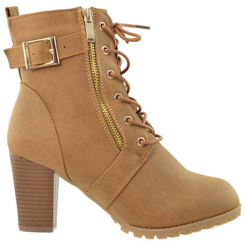 Womens Ankle Boots Lace Up Buckle Strap High Heel Booties Brown