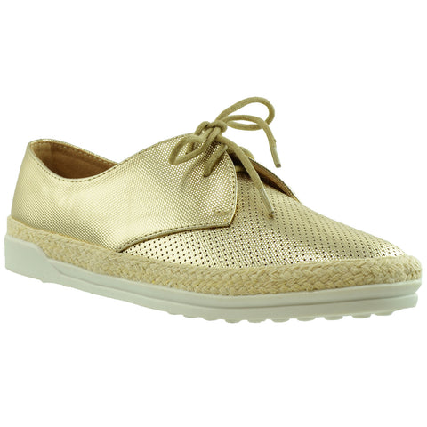 Womens Flat Shoes Perforated Lace Up Espadrilles Closed Toe Sneaker Gold