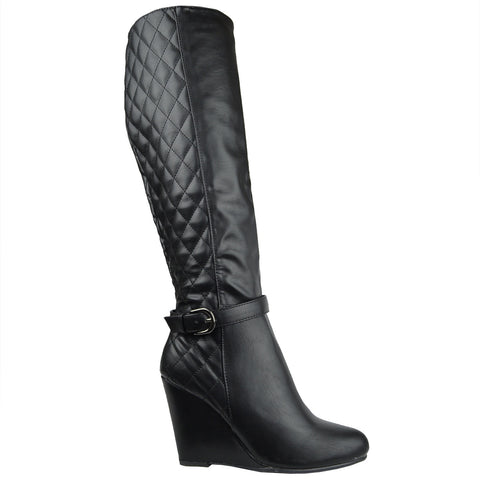 Womens Knee High Boots Quilted Front And Ankle Strap High Wedge Shoes Black