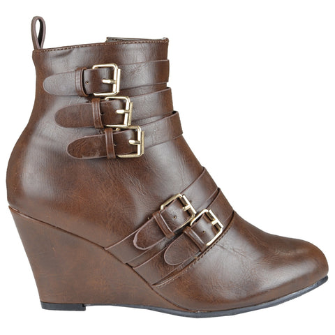 Womens Ankle Boots Stacked Buckle Back Zipper High Wedge Shoes Cognac