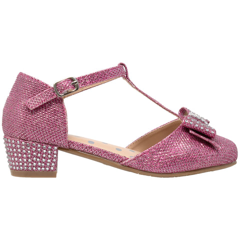 Kids Dress Shoes T-Strap Bow Accent Glitter Rhinestone Mary Jane Pumps Magenta