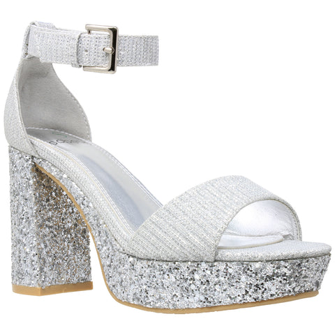 Womens Platform Sandals Glitter Accent Ankle Strap Chunky Block Heel Shoes Silver
