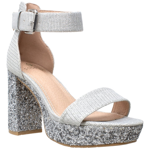 Womens Platform Sandals Open Toe Buckle Ankle Strap Chunky Block Heel Shoes Silver Glitter