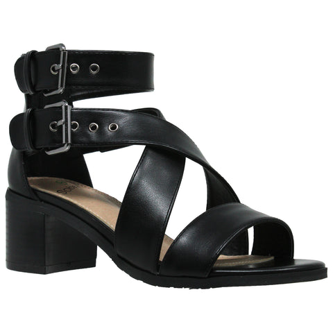 Womens Dress Sandals Strappy Buckle Accent Chunky Block Heel Shoes Black