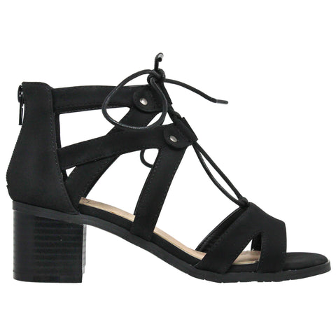 Womens Dress Sandals Lace Up Gladiator Block Heel Shoes Black